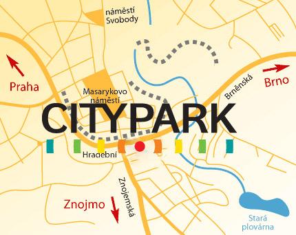 Mapa City Park Jihlava